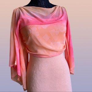 Peach Sheer Ombré Overlay Drawstring Coverup Top